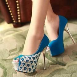 Mavi Yazlık İnce Topuklu Ayakkabı Modelleri