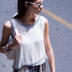 Sade Beyaz 2015 Kolsuz Bluz Modelleri
