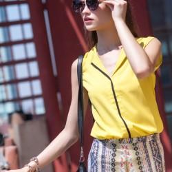 Sarı 2015 Kolsuz Bluz Modelleri