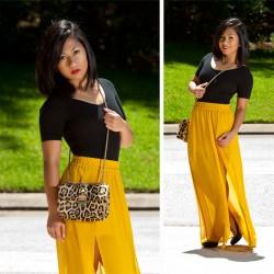 Sarı 2015 Yırtmaçlı Uzun Etek Modelleri