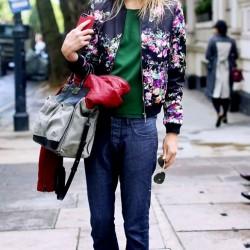 Sokak modası çiçek desenli ceket modelleri