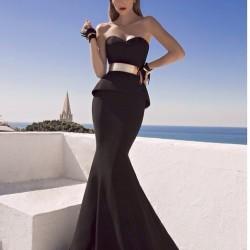 siyah renkli parlak kemerli abiye modeli