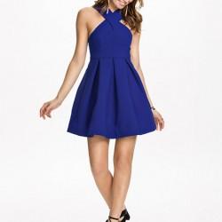 Boyundan Askılı Saks Mavisi Kloş Elbise Modelleri
