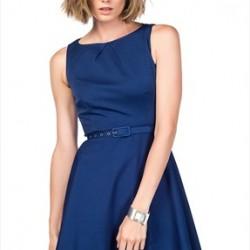 En Güzel Saks Mavisi Kloş Elbise Modelleri