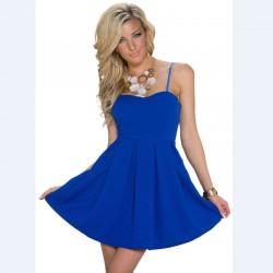 En Yeni Saks Mavisi Kloş Elbise Modelleri