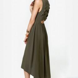 En Zarif Asker Yeşili Elbise Modelleri
