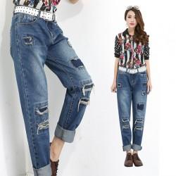 En tarz yamalı kot pantolon modelleri