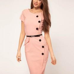 Kemer ve Düğme Ayrıntılı Günlük Elbise Modelleri