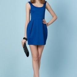 Mini Saks Mavisi Kloş Elbise Modelleri