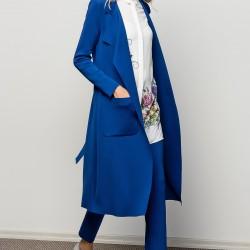 Saks Mavisi Uzun Vavist Ceket Modeli