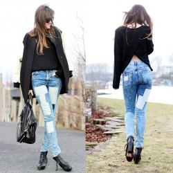 Sokak Modası Yamalı Kot Pantolon Kombinleri
