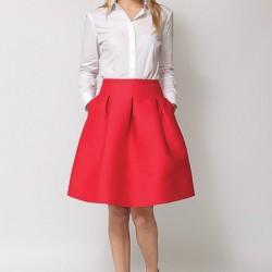 Yüksek Bel Kırmızı Etek ve Gömlek Kombini
