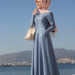 En Zarif Kapalı Kot Elbise Modelleri