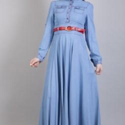 Kemer Detaylı Tesettür Kot Elbise Modelleir