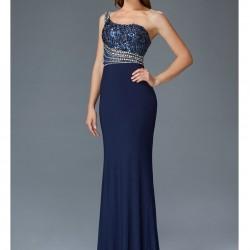 İnci Süslemeli Mavi Gece Elbise Modelleri