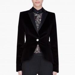 Siyah Renkli Bayan Kadife Ceket Modelleri