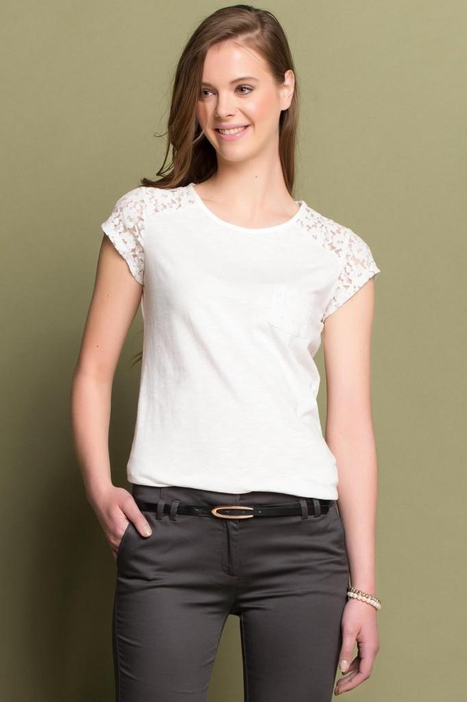 Beyaz Renkli Dantel Detaylı DeFacto Bluz Modelleri