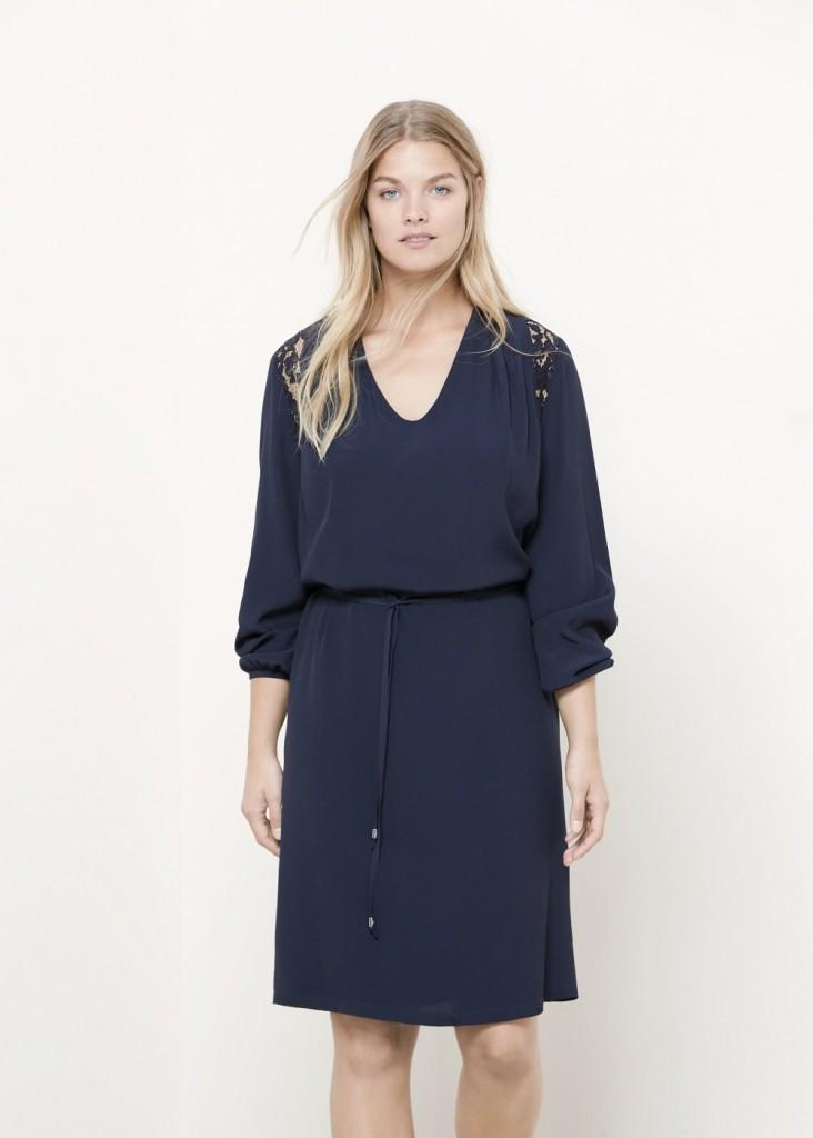 Dantel İşlemeli Lacivert Renkli Mango Elbise Modeli