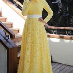 Sarı Renkli Tesettür Abiye Modelleri 2016