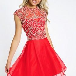 Zarif Taş Süslemeli Mezuniyet Elbisesi Modelleri