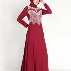 İşlemeli Çok Zarif Alvina Tesettür Abiye Elbise Modelleri