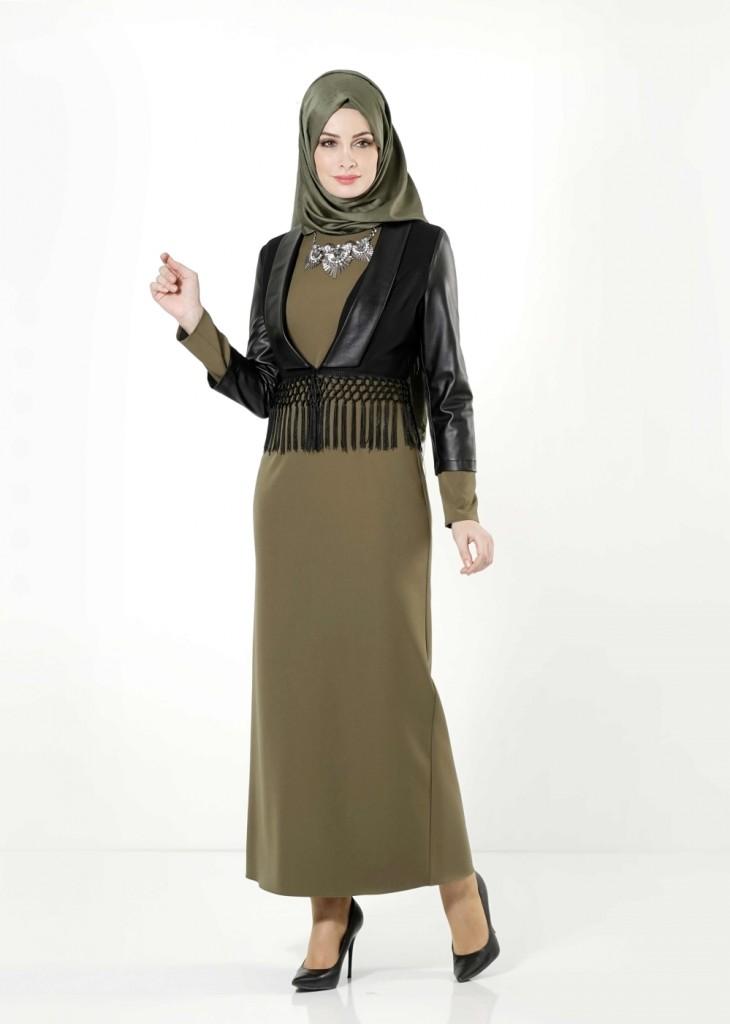 Alvina Giyim Haki Tesettür Elbise Modelleri