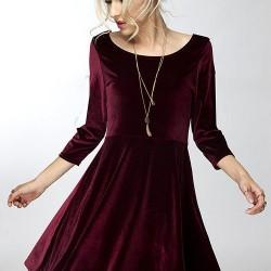 En Güzel Kadife Kloş Elbise Modelleri