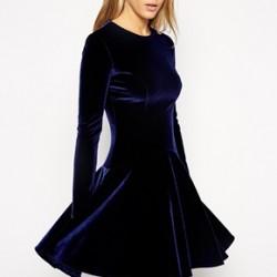 Kadife Kloş Elbise Modelleri