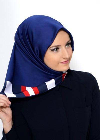 Mavi Renkli Çok Şık Eşarp Modeli 2016