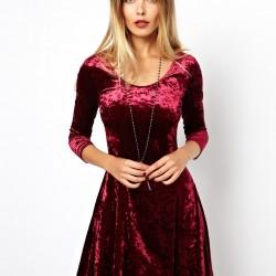 Parlak Kadife Kloş Elbise Modelleri