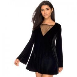 Tül Detaylı Kadife Kloş Elbise Modelleri