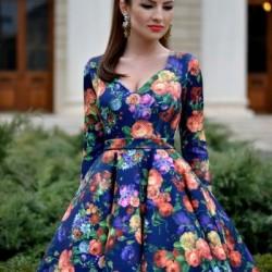 2016 Çiçek Desenli Kloş Elbiseler