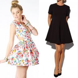 En Tarz Çiçek Desenli Kloş Elbise Modelleri 2016