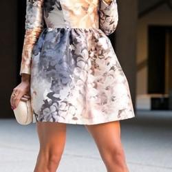 Çiçek Desenli Kısa Kloş Elbise Modelleri 2016