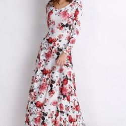 Çiçek Desenli Kloş Uzun Elbise Modelleri 2016