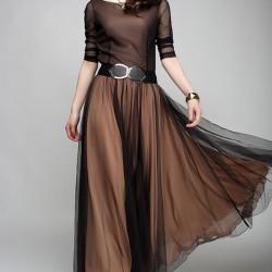 Kemer Detaylı Şifon Elbise Modelleri 2016
