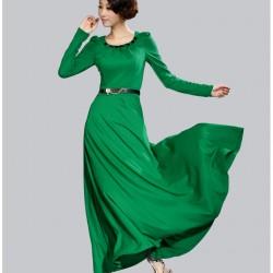 Kemer Detaylı Uzun Kloş Elbise Modelleri