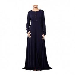 Saks Mavisi Tesettür Kloş Elbise Modelleri