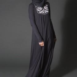 En Tarz Siyah Tesettür Elbise Modelleri