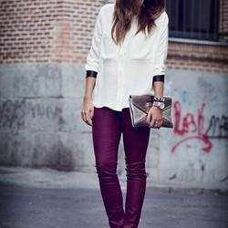 En Güzel Bordo Pantolon Kombinleri