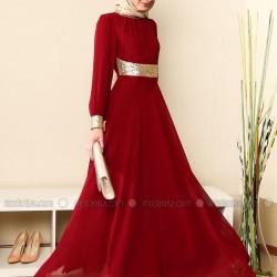 Gençler İçin Kırmızı Renkli Modanisa Tesettür Abiye Modelleri