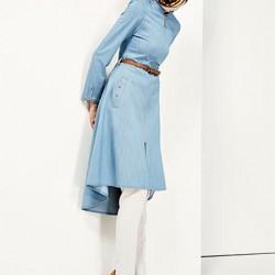 Kemer Detaylı Kot Tesettür Tunik Modelleri 2016
