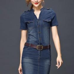 Kemer Detaylı Yazlık Jean Elbise Modelleri
