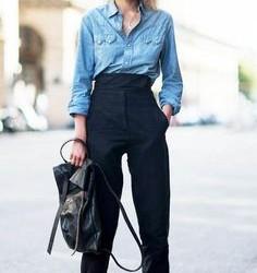 Yüksek Bel Siyah Pantolon Kombinleri