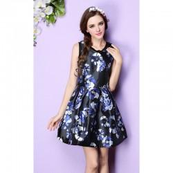 Yazlık Çiçek Desenli Kloş Elbise Modelleri 2016