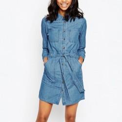 Yeni Sezon Kuşak Detaylı Önden Düğmeli Yazlık Jean Elbise Modelleri