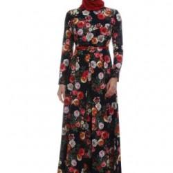 Çiçek Desenli Kemer Detaylı Armine Tesettür Elbise Modelleri