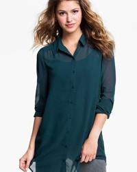 Şifon Detaylı Gömlek Tunik Modelleri 2016