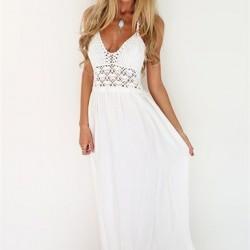 Beyaz İşlemeli Askılı Elbise Modelleri