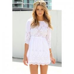 Beyaz İşlemeli Kısa Elbise Modelleri